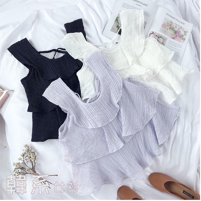 【韓系女衫】涼夏絲綿層次修身背心上衣-4色