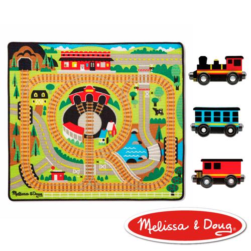 美國瑪莉莎 Melissa & Doug 交通遊戲 - 可愛火車環繞鐵路地墊組