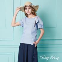 【Betty Boop】造型翻領露肩條紋上衣(共兩色)