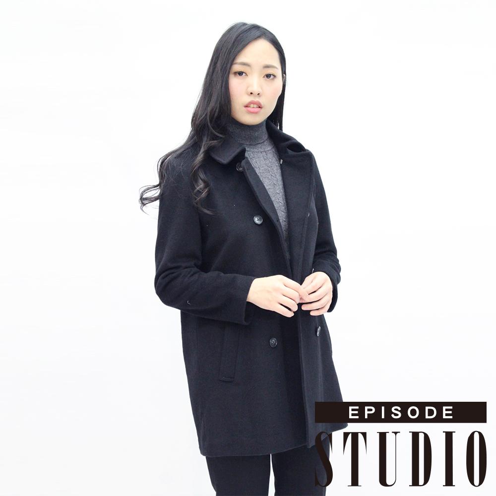 EPISODE Studio - 翻領排釦造型混羊毛大衣(黑)