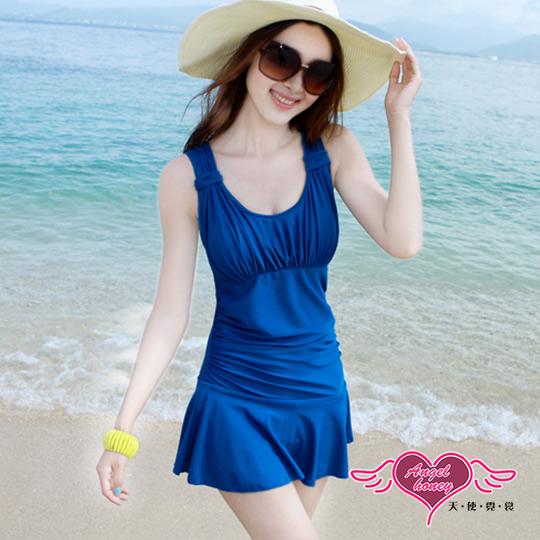 【天使霓裳】泳衣 海洋假期 一件式加大尺碼連身泳裝(藍M~2L)