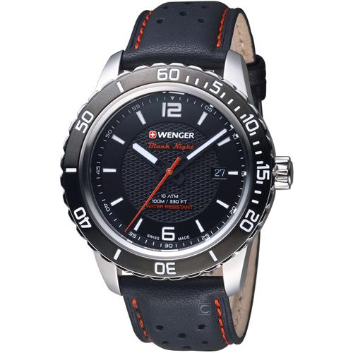 瑞士WENGER Roadster 黑夜騎士皮革腕錶 01.0851.120