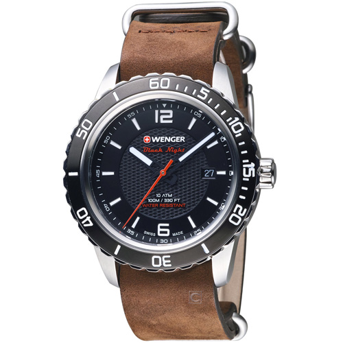 瑞士WENGER Roadster 黑夜騎士皮革腕錶 01.0851.121