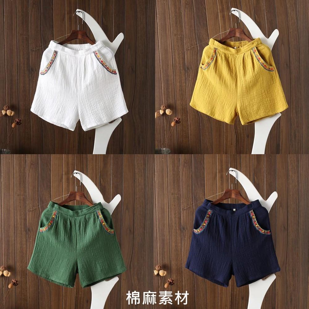 原創民族休閒棉麻短褲