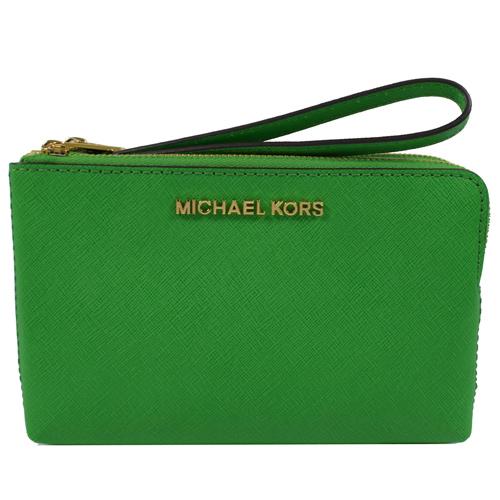 MICHAEL KORS 金字LOGO防刮皮手提雙層零錢包.綠