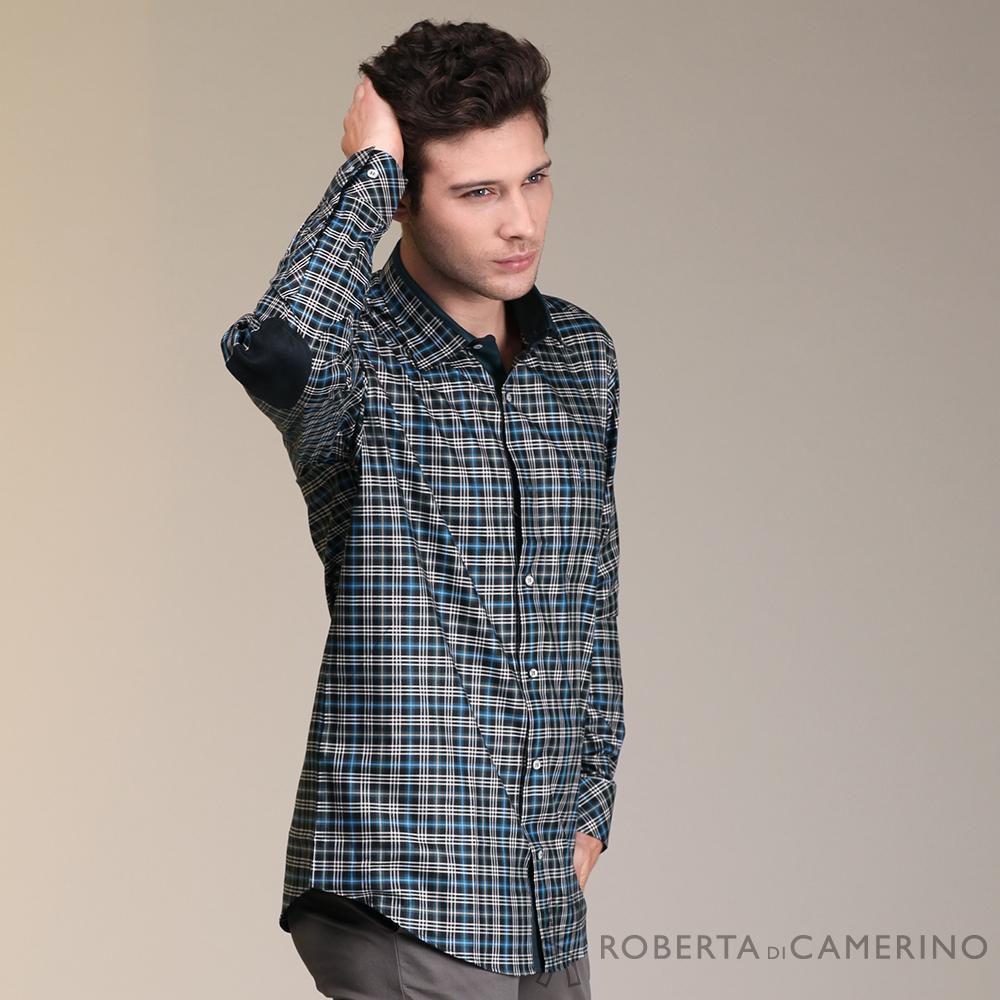 ROBERTA諾貝達 進口素材 台灣製 個性格紋長袖襯衫 黑藍