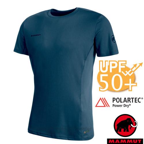 【瑞士 MAMMUT 長毛象】Sertig T-Shirt 男新款 短袖圓領多功能排汗上衣(UPF50抗UV).彈性運動T恤/Power Dry吸濕快乾/00110-50021 冠藍鴉
