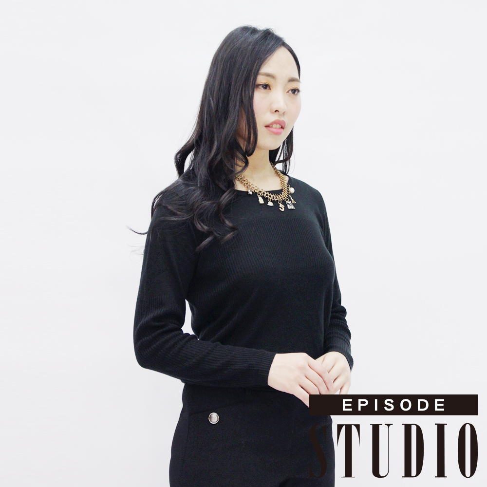 EPISODE Studio - 高質感柔美素面混羊毛上衣(黑)