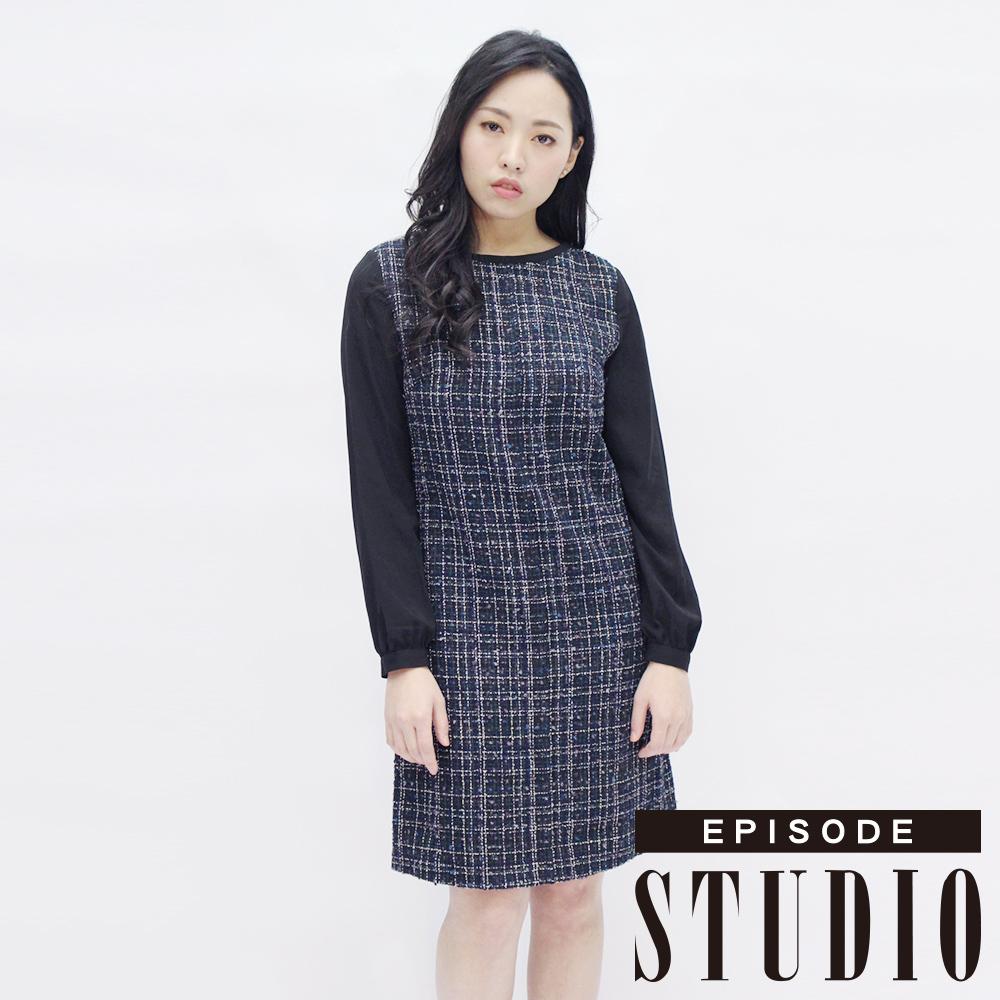EPISODE Studio - 都市風尚格紋拼接洋裝