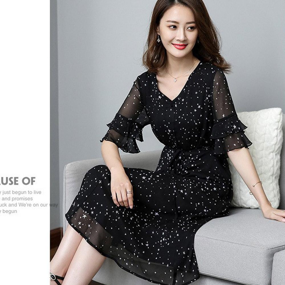【麗質達人】18321黑色雪紡印花洋裝(XL-5XL)