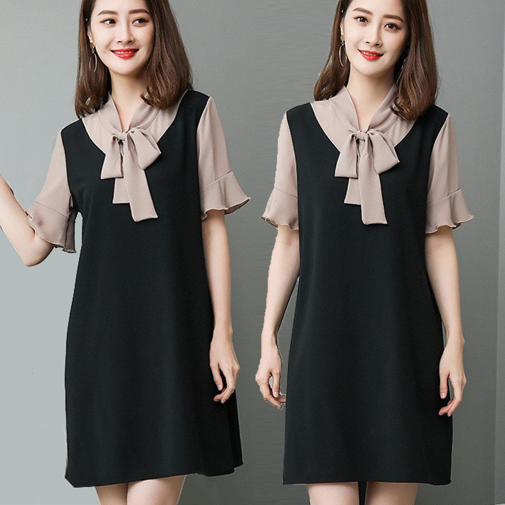 【麗質達人】18379雪紡拼接假二件洋裝(XL-5XL)