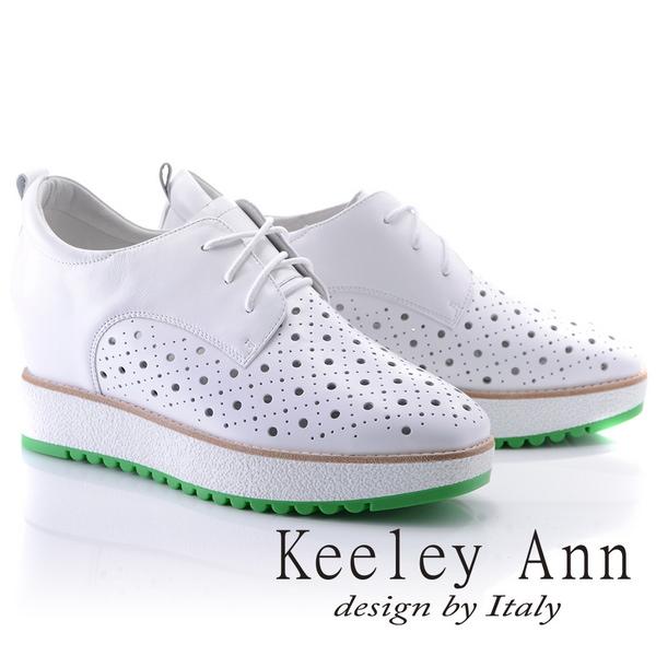 Keeley Ann街頭潮流~綁帶洞洞設計全真皮內增高休閒鞋(白色825777140-Ann系列)