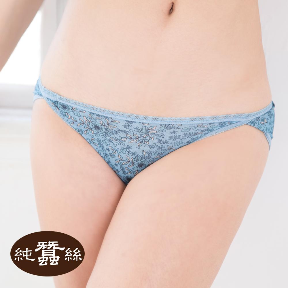 【岱妮蠶絲】印花中低腰開衩三角蠶絲內褲(藍色小花)