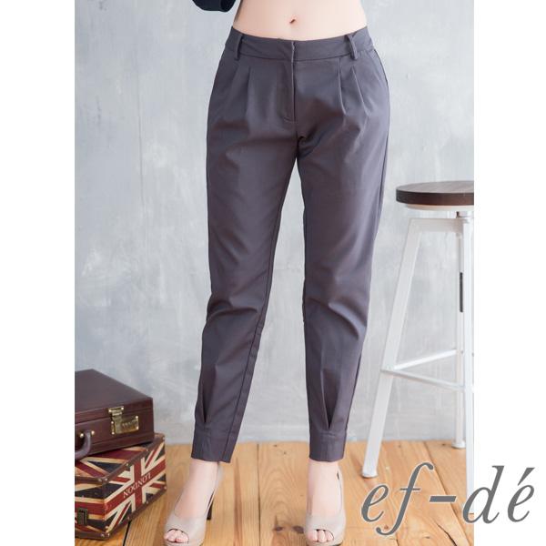【ef-de】激安 復古壓摺紋縮口七分褲(深灰/軍綠)