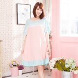 Wonderland ST7606清新芬芳嫘縈居家洋裝(藍)