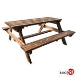 LOGIS-多用原木庭園桌椅 啤酒桌 戶外桌椅 烤肉桌 BBQ 露營桌