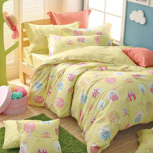 IN HOUSE - Owl city-200織紗精梳棉-兩用被床包組(黃-雙人)