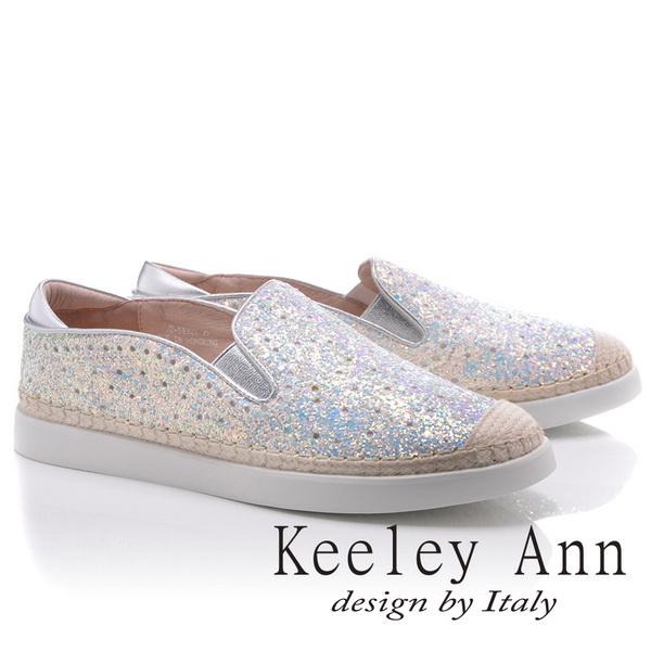 Keeley Ann炫彩奪目~亮片金蔥圓點真皮軟墊平底休閒鞋(白色825832240-Ann系列)