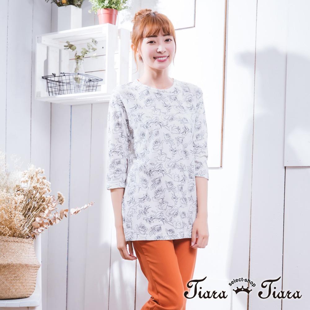 【Tiara Tiara】激安 簡筆畫花紋七分袖純棉上衣(白/粉/深藍/紫/綠)