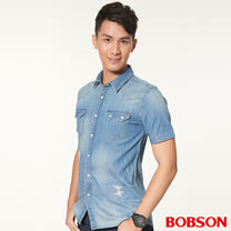 BOBSON男款水洗補丁牛仔襯衫(26008-53)