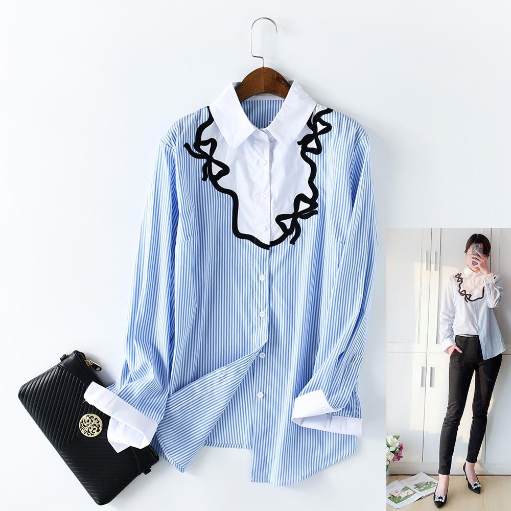 【Maya Collection】日系OL通勤條紋女襯衫 (藍色)
