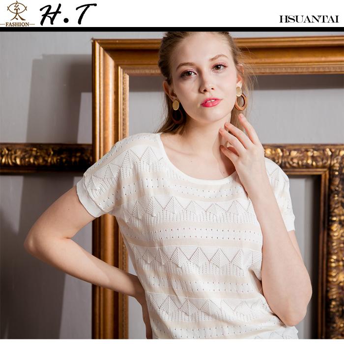 玄太-圓領條紋造型織紋針織上衣(白)