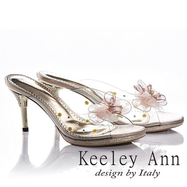 Keeley Ann氣質甜美~水滴金屬飾釦緞帶網蝴蝶結高跟拖鞋(金色831003237)