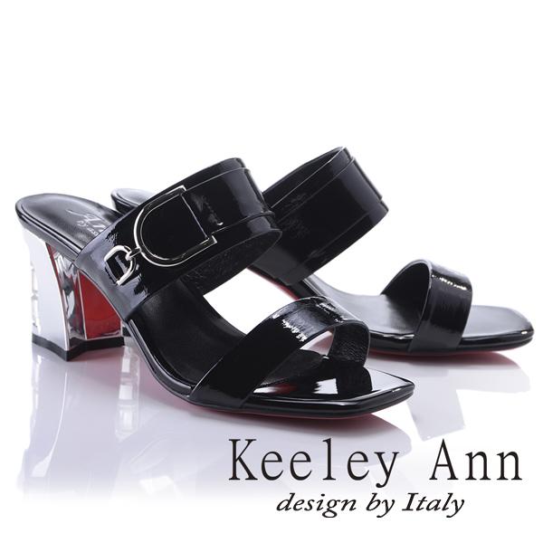 Keeley Ann極簡率性~亮澤D字環釦真皮晶鑽中跟拖鞋(黑色821932110-Ann系列)