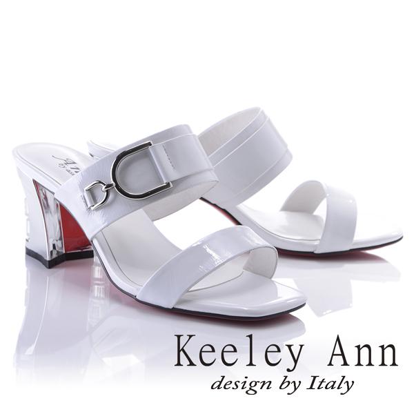 Keeley Ann極簡率性~亮澤D字環釦真皮晶鑽中跟拖鞋(白色821932140-Ann系列)