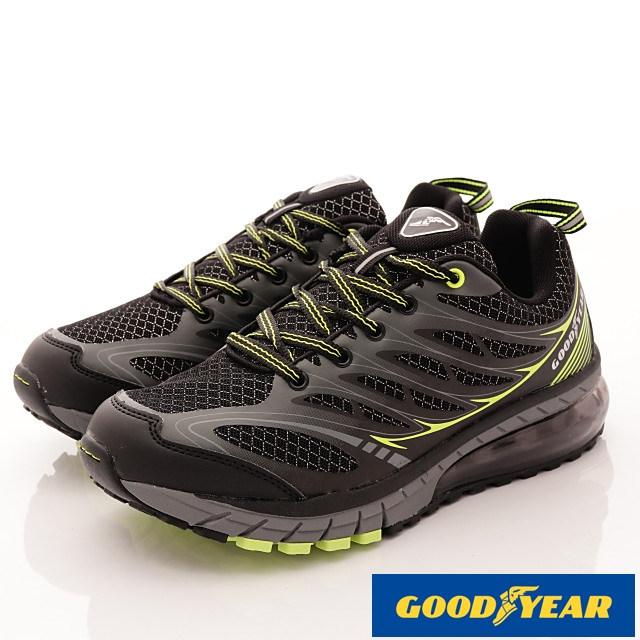 GOODYEAR-黑耀之星氣墊跑鞋MR73375黑綠-男段-(25.5-29cm)