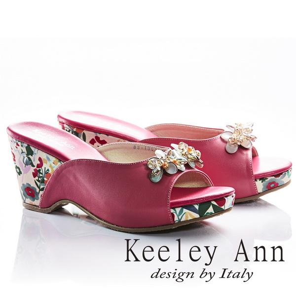 Keeley Ann年代風華~立體水鑽飾釦甜美花朵滾邊全真皮楔形拖鞋(桃紅色831303153)