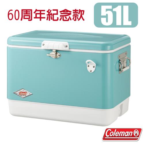 【美國 Coleman】60周年紀念款 51L 經典不鏽鋼甲冰箱.冰桶.行動冰箱/適露營.野炊.釣魚.戶外必需品/ CM-03739 美國藍