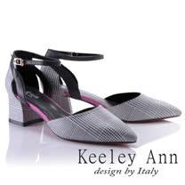 Keeley Ann時尚百搭~千鳥格紋腳踝釦帶真皮粗中跟尖頭鞋(桃紅色824772353-Ann系列)