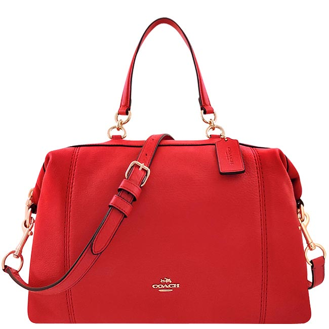 COACH 皮革壓紋波士頓包/大型-紅色