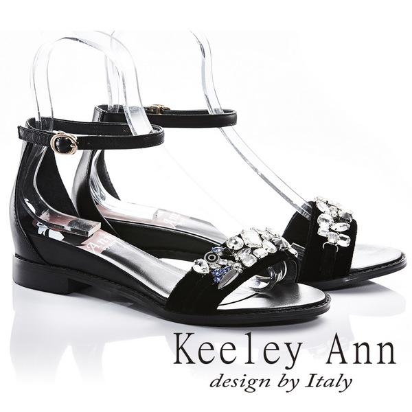 Keeley Ann高雅出眾~亮澤水鑽腳踝釦帶真皮平底涼鞋(黑色822692110-Ann系列)