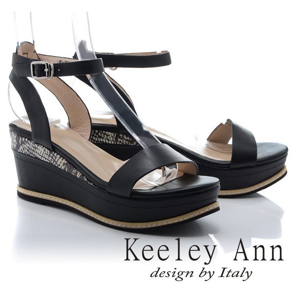 Keeley Ann韓式風潮~拼接壓紋金屬飾釦全真皮厚底涼鞋(黑色822692410-Ann系列)
