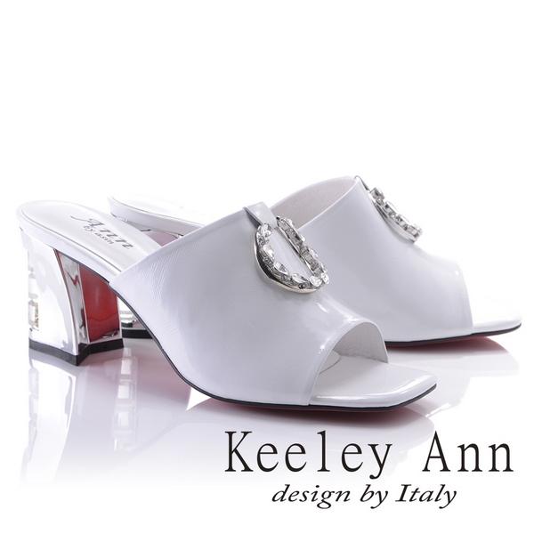 Keeley Ann天使光環~極淨色彩水鑽圓飾真皮粗中跟拖鞋(白色821932440-Ann系列)