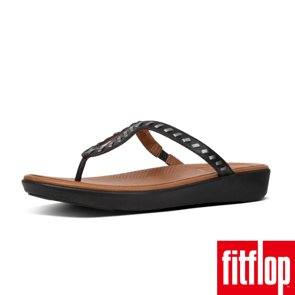 FitFlop STRATA TM TOE-THONG SANDALS WHIPSTITCH LEATHER 黑