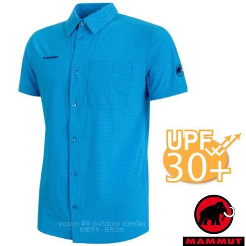 【瑞士 MAMMUT 長毛象】Trovat Trail Shirt 男新款 彈性透氣快乾短袖襯衫((UPF30抗UV)/HeiQ Fresh Tech 抗菌處理/00070-5528 帝國藍