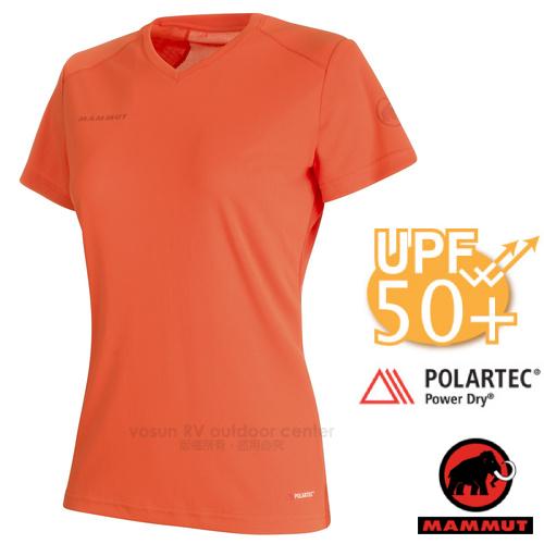 【瑞士 MAMMUT 長毛象】Sertig T-Shirt 女新款 短袖圓領多功能排汗上衣(UPF50抗UV).彈性運動T恤/Power Dry吸濕快乾/00140-3459 小檗紅