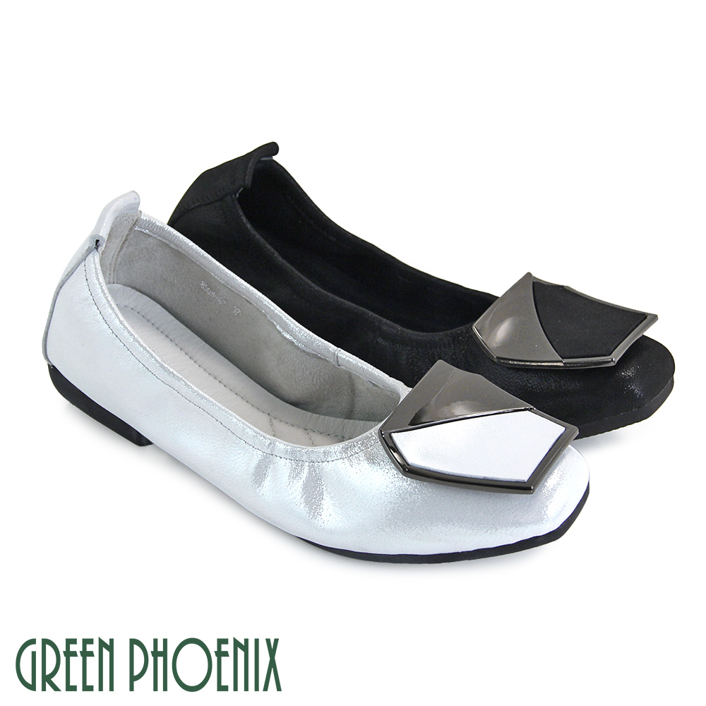 【GREEN PHOENIX】六角型金屬裝飾全真皮珠光感平底娃娃鞋