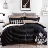 AGAPE亞加•貝【簡單條紋】雙人5x6.2尺四件式精梳純棉涼被床包組-床包加高35cm