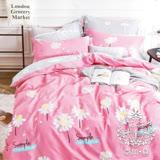 AGAPE亞加•貝【花語紛飛】雙人5x6.2尺四件式精梳純棉涼被床包組-床包加高35cm