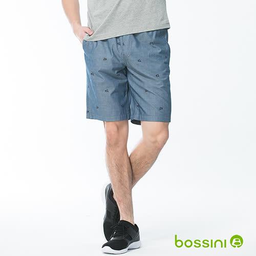 bossini男裝-印花輕便短褲02藍(品特)