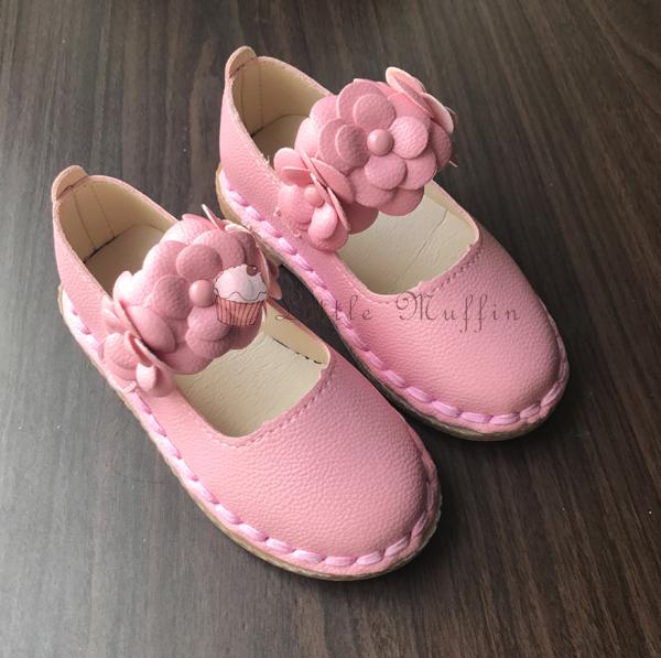 粉紅花朵皮質公主鞋/娃娃鞋/花童鞋/禮服鞋 止滑膠底外出鞋