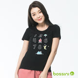 bossini女裝-印花短袖T恤14黑
