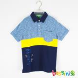 bossini男童-短袖印花POLO衫01藍紫