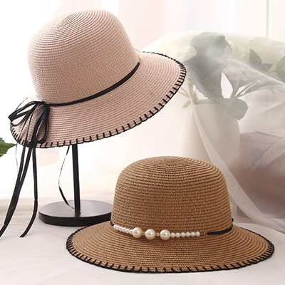 草帽防曬遮陽漁夫帽-優雅氣質珍珠綁帶母親節情人節生日禮物女帽子5色73rp83【米蘭精品】