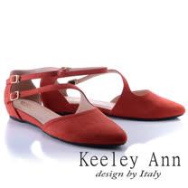 Keeley Ann氣質甜美~金屬釦環腳背帶真皮軟墊平底奧賽鞋(紅色834363150)
