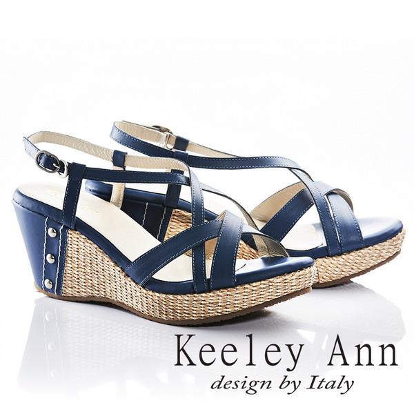 Keeley Ann夏日俏皮~交叉環繞編織金屬飾扣全真皮楔形涼鞋(藍色832183160)